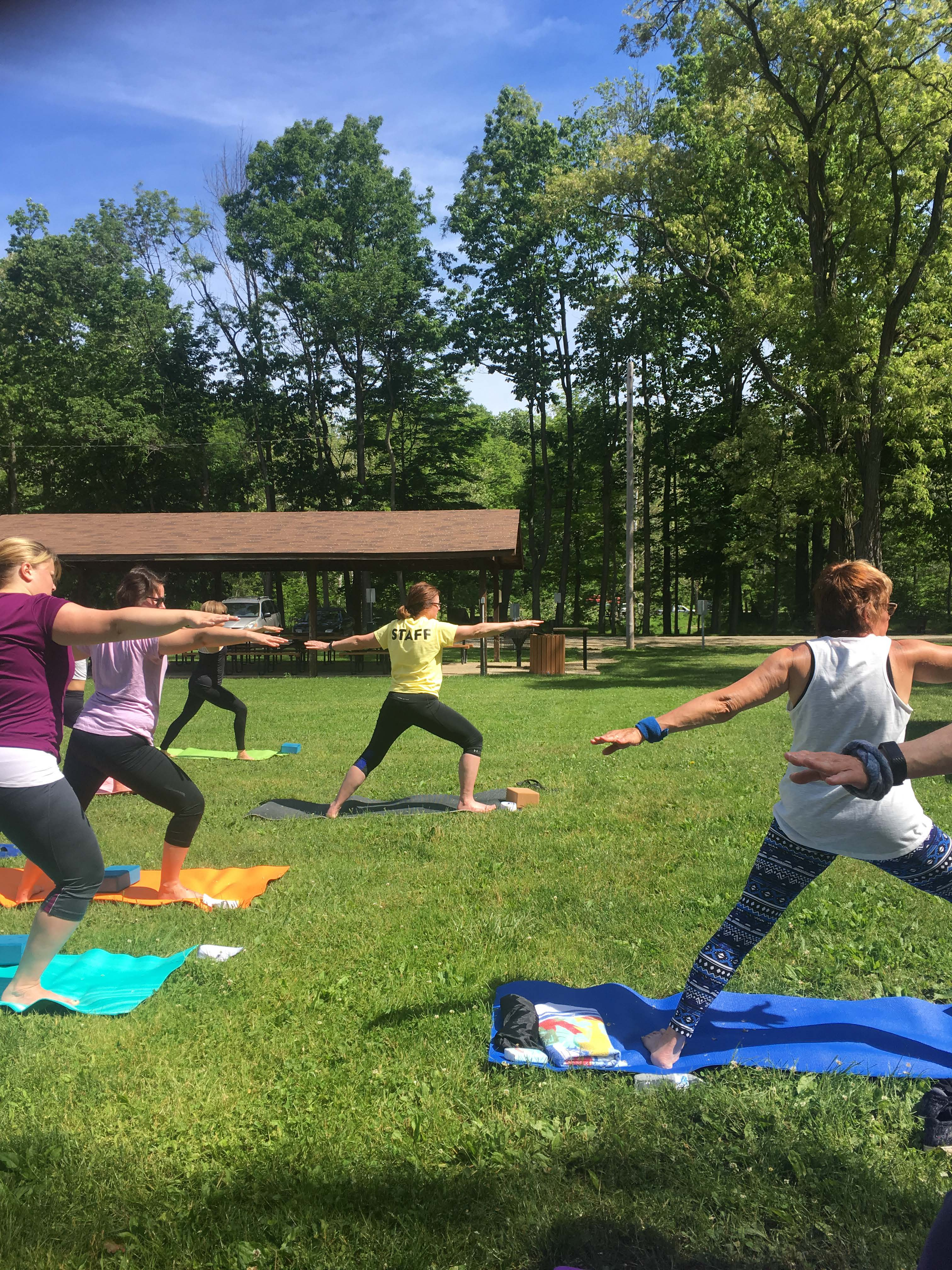 Yoga class in pose at Harpersfield Park