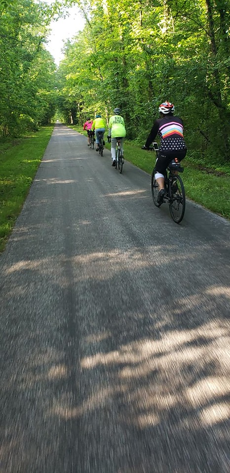 Cyclists riding down the paved Greenway trail