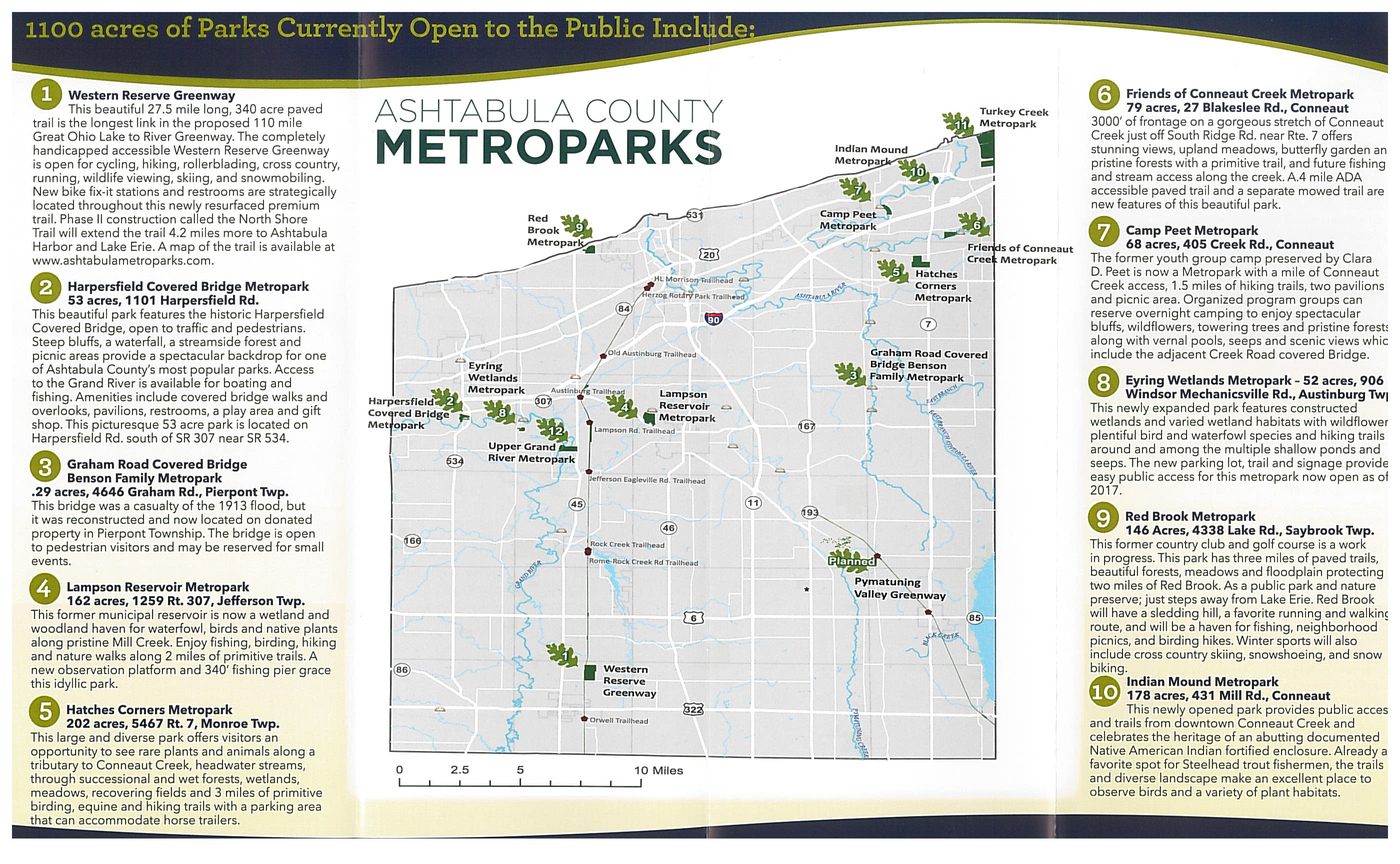 map of location of county metroparks